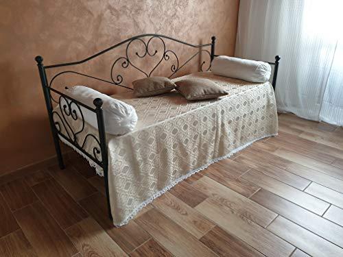 Divano letto in ferro battuto con doghe Sogno antracite