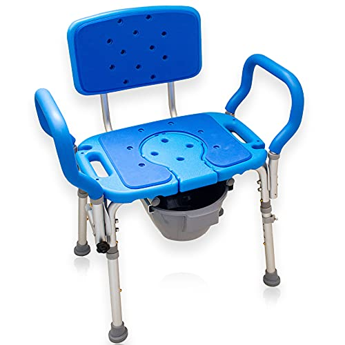 Samson Deluxe Bariatric 3-in-1 Shower/Bath/Commode Chair, 600lb. Capacity, Padded with Cutout and Insert. Heavy Duty with Adjustable Height and XL Seat