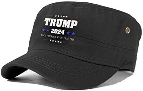 Trump 2024 Make America Even Greater Adjustable Army Cap Baseball Cap Cadet Flat Hat Cap Black product image