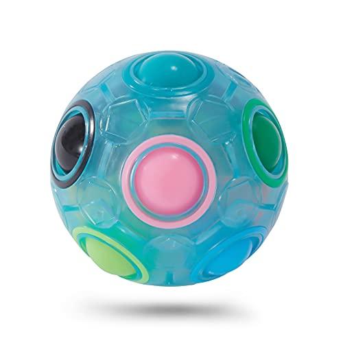 Vdealen Challenge Puzzle Speed Würfelball, Farbanpassungsspiel, Fun Fidget Toy Puzzle (Blauer Regenbogenball)