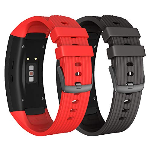NotoCity Armband für Samsung Gear Fit 2 /Gear Fit 2 Pro, Quick-Fit Silikon Ersatz Armbänder, Mehrfache Farben (Schwarz + Rot,L)