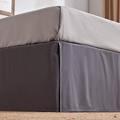 SLEEP ZONE Bed Skirt Anti-Static Premium 120gsm Thick Double Brushed Microfiber Hotel Quality Pleated Dust Ruffle Wrap Around 15 inch Talored Drop Shrink and Fade Resistant (King, Grey)