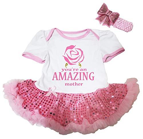 Petitebelle You're a Amazing Mother Body blanc Tutu Robe de bébé Rose Nb-18m - Rose - M