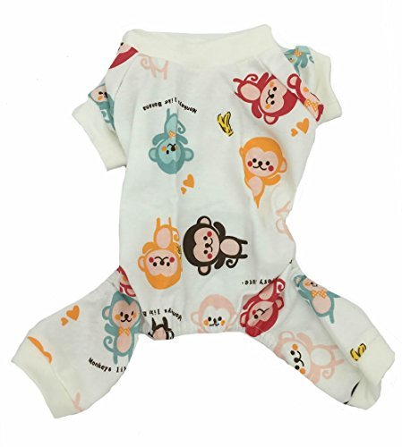 Lanyar Cute Small Dogs Pajamas 100% Cotton for Small Dogs with Monkey, Medium Back 16