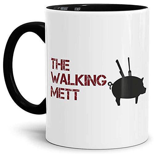 Tassendruck Spruch-Tasse The Walking Mett Innen und Henkel Schwarz - Kaffeetasse/Mug/Cup - Qualität Made in Germany