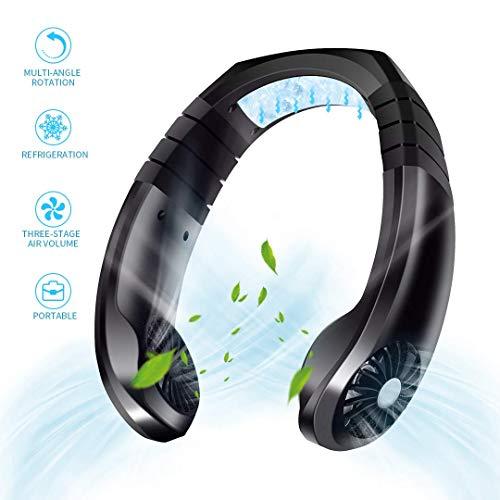 NSDDTXD Tragbarer Ventilator,Mini USB Nackenbügel Ventilator,Reiselüfter Wiederaufladbarer Nackenlüfter,Hängender Fan mit 3 Geschwindigkeiten für Wandern, Camping im Freien,Schwarz