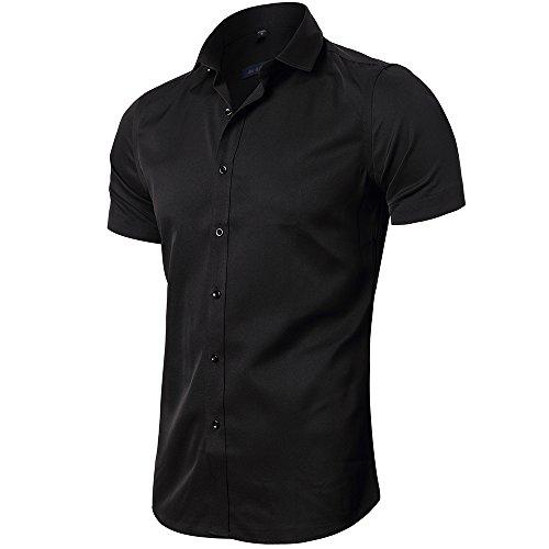 INFLATION Herren Hemd aus Bambusfaser umweltfreudlich Elastisch Slim Fit für Freizeit Business Hochzeit Reine Farbe Hemd Kurzarm Herren-Hemd Schwarz DE L (Etikette 42)