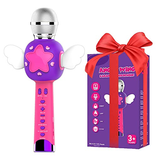 VOZKOM Angel Wing Karaoke Microfono niña niños, Micrófono de Grabación Inalámbrico para Niños, Máquina de Karaoke Microfono Juguetes para Niñas, Regalos de Cumpleaños para Niñas niños 3 4 5 6 Años