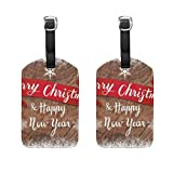 Set of 2 Luggage Tags Merry Christmas Suitcase Labels Travel Accessories