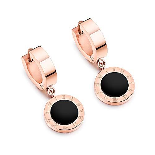 Pendientes de aro con números romanos de concha negra y acero de titanio y oro rosa para mujer