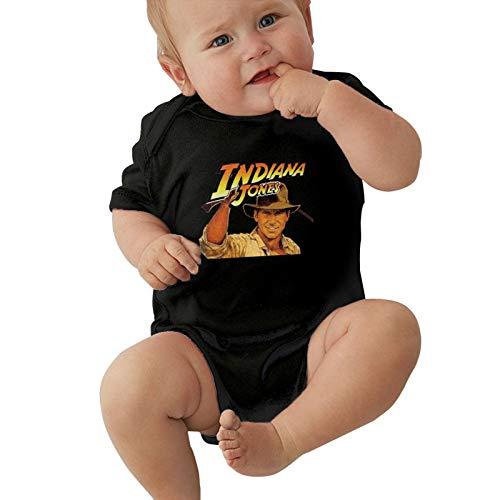 IRUD Indiana Jones Baby Boys/Girls Short Sleeve Unisex Bodysuit Onesie Comfort Jumpsuit for Infant and Toddler Black 6 Months
