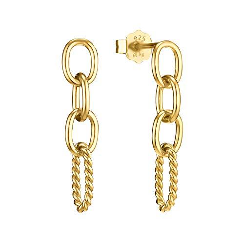 amor Pendientes para mujer, plata 925 chapada en oro   Link