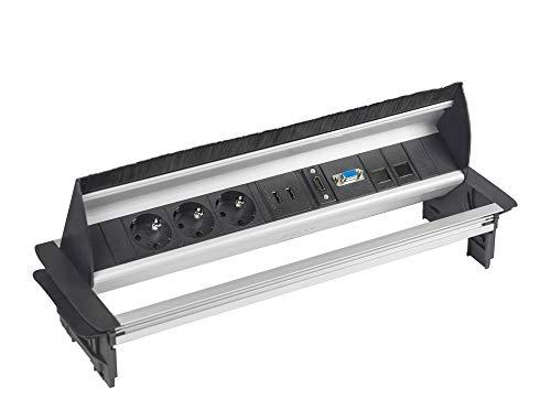 Elbe versenkbare Einbausteckdose mit USB und HDMI, Tischsteckdose mit VGA- und RJ45 Netzwerkanschlüsse, Steckdosenleiste Aluminium schwarz-grau Optik, 1,5m Anschlusskabel für Büro