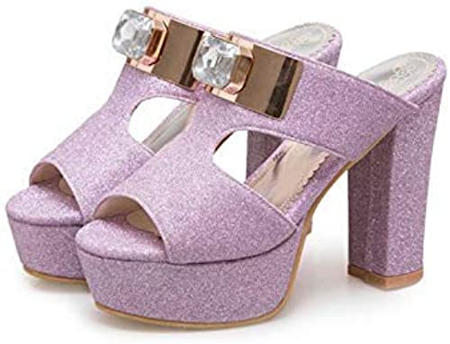 HTJL Sandales à Talons pour Femmes, Pantoufles Sandales à la Mode Chaussures à Talons Ultra pour Les Les dames de Mariage,violet,38