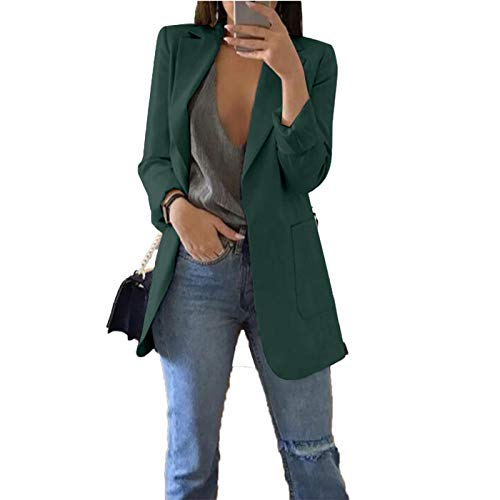 Womens Casual Work Office Solid Color Cardigan Blazer Jacket Dark Green XX-Large