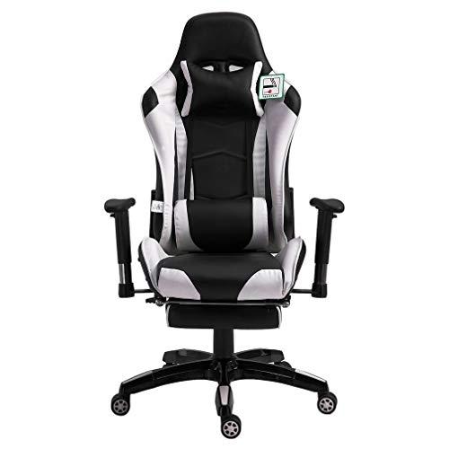 Gaming Racing Stuhl - Ergonomischer Liegestuhl, Bürostuhl Verstellbarer Neigungswinkel Computerstuhl Drehbarer Gaming Recliner (weiß)