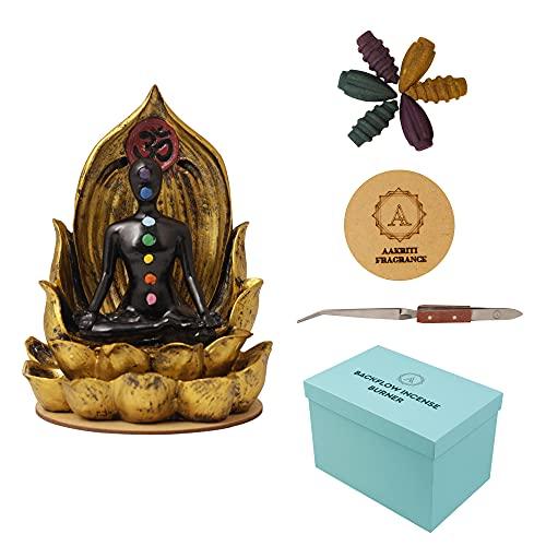 Bruciatore di incenso AAKRITI | Decorazioni per la casa | Basato sul Feng Shui | Bruciatore a riflusso tradizionale | Perfetto per l'inaugurazione della casa, Natale, compleanno, (Chakra)
