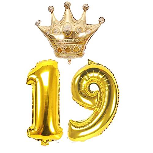 Crazy-M Globos con el número 19 de oro brillante, 32 pulgadas, 19,...