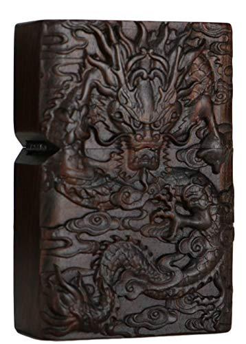 Natürliches Ebenholz Schwarz Holz geschnitzt Feuerzeug Außengehäuse für Zippo Einsatz Kit (Royal Dragon)