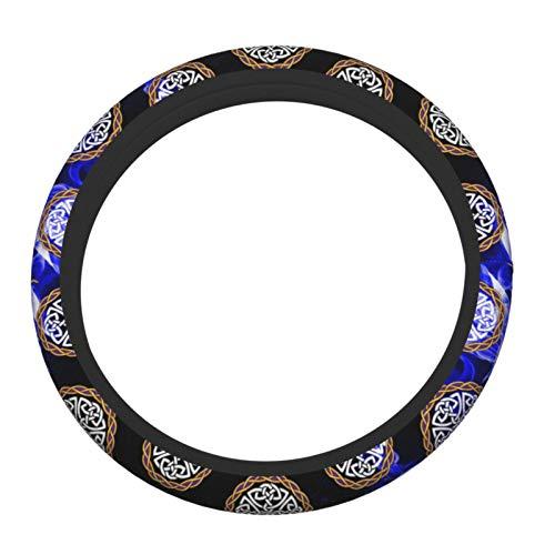 Lumugun Irish Shield Warrior Celtic Cross Knot Elastic Steering Wheel Cover Neoprene Durable Anti Slip Anti Abrasion