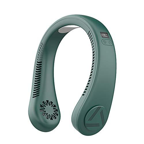 Nuevo estilo ventilador de hielo de refrigeración sin hoja colgante cuello portátil verano perezoso ventilador (verde)