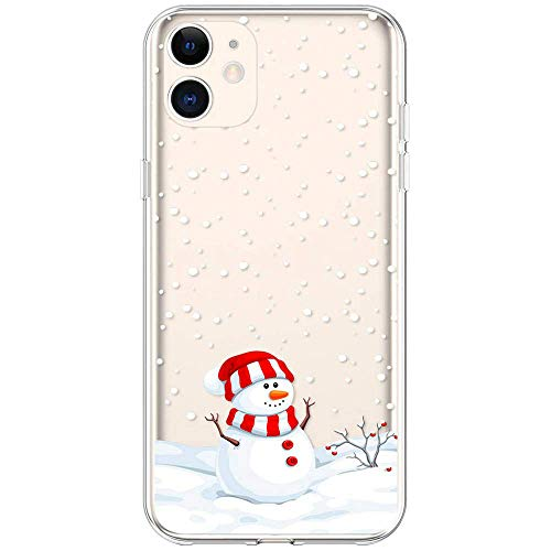 """Case for iPhone 11 Christmas, Slim Fit iPhone 11 Case Ultra Thin Clear Design Transparent Flexible Cover Xmas Winter Snowman Snowflake Pattern Soft TPU Rubber Protective Case (6.1"""")"""