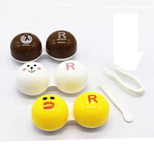 DRADUO Cartoon Contact Lens Box, Cute Colourful Contact Lens Case, Contact Lens Case Travel Kit (Brown+Yellow+White)