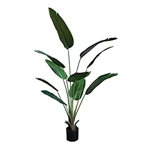 "Artificial Bird of Paradise Tree,Faux Travelers Banana Tree,Fake Tropical Palm Tree with 9 Leaves,Fake Trees for Outdoor and Indoor,Front Door Plants,Set of 2(63"") (63in)"