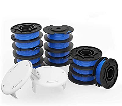 """yoelike Weed Eater String Trimmer Replacement Spool for Ryobi One Plus AC14RL3A 18V 24V 40V, 11ft 0.065"""" Autofeed Cordless Weed Eater Spools Line with Cap(13 Replacement Spool, 2 Trimmer Cap)"""