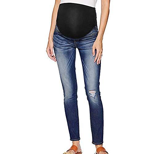 JiaMeng-ZI Pantalones para Mujer Pantalones Vaqueros de Tiro Alto para Mujer - Estilo Pitillo Muy Entallado - Tejido elástico - Azul