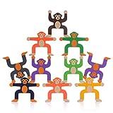MOOKLIN ROAM Juego Apilamiento Mono, 16 Piezas del Bloques Apilables, Juego de Apilar Equilibrio Hércules Plástico, Juguetes Educativos Temprana para la interacción, Baño del Bebé Juegue
