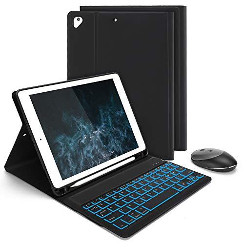 Jelly Comb Bluetooth Tastatur Hülle mit Maus für iPad 9,7 2018(6. Gen.)/iPad 2017(5. Gen.)/iPad Pro 9,7/Air/Air 2, 7-fabige Beleuchtete Abnehmbare QWERTZ Tastatur mit Schützhülle und Funkmaus, Schwarz