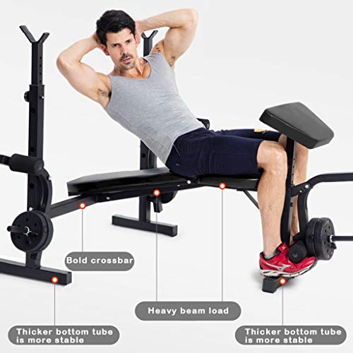 Multifunctional Olympic Weight Bench Rack Set - Adjustable Weight Lift Bench Rack Set Fitness Barbell Dumbbell Workout Fitness Equipment