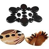 QYLHH 16 Pcs Hot Massage Stones Set Basalt Rocks Natural Lava Warmer for Home Spa Massager for Back&Leg& Face &Foot