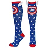 Captain America Shield and Stars Knee High Socks with Wings multicolor one size Sock Size: 9-11 /...