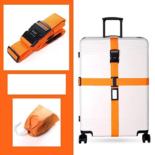 Gangkun Doppellagiger Schutzgurt für das Gepäck, Kreuzworträtsel, Fester Gurt für das Reisegepäck@C4 orange