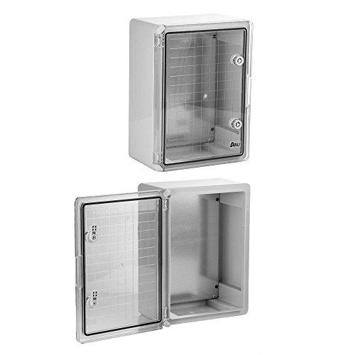 Schaltschrank IP65 Sichttür Industriegehäuse 200 x 300 x 130 mm verzinkter Montageplatte transparent Tür mit umlaufender Dichtung Gehäuse Leergehäuse ABS Kunststoff leer Schrank ARLI 20 x 30 x 13 cm