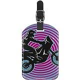 Etiquetas de Equipaje Cool Riding Motor Man de Piel para Maleta de Viaje, 1 Paquete
