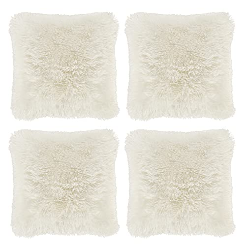 Hivexagon Soft Plüsch Kissenbezug,Kissen Fällen Sofa Taille Throw Kissen Cover Kunstfell Kissenbezug 4er-Pack (Deko-Kissen Fluffy 43cm x 43cm)