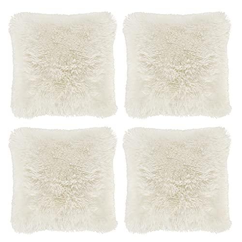 Hivexagon Federa Morbida per Cuscino - Set 4 federe in Finto Pelo Colore Bianco per Cuscini 43cm x 43cm