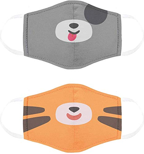 Cubcoats Kids Face Mask 2 Pack, Breathable & Comfortable Masks for Kids, Reusable and Washable, Face Masks for School and Everyday Use, Pimm the Puppy and Tomo the Tiger