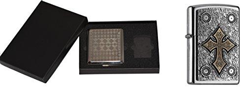 Zippo 15467Accendino Celtic Cross Plus Astuccio per Sigarette Gift Set, Collection 2016, Articolo Numero 2.004.752.3, Street Chrome