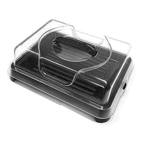 HAC24 Kühlplatte mit Deckel Servierplatte Kühl Platte Kunststoff Kühlservierplatte Buffetplatte Speiseplatte Thermotablett Schwarz