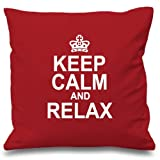 Like ABartonArtsale Keep Calm And Relax Red Cushion Cover Decorative Pillow Cotton Pillowcases Copricuscini e federe (45cmx45cm)