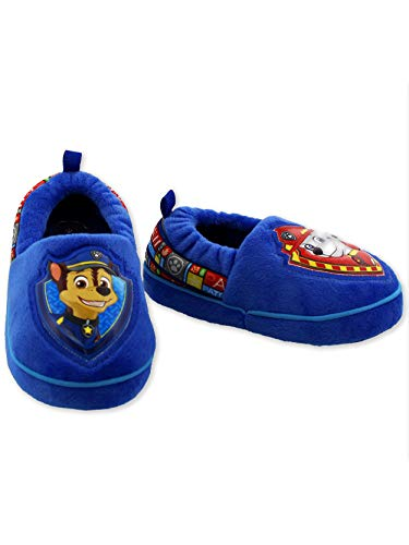 Paw Patrol Chase Marshall Toddler Boys Plush Aline Slippers (7-8 M US Toddler, Blue/Red)