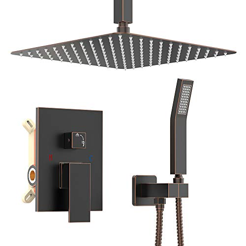 KOJOX Ceiling Oil Rubbed Bronze Shower System with 12 Inch Rain Shower head and Handheld Head, Bathroom Shower Faucet Set Trim Kit with Valve Combo