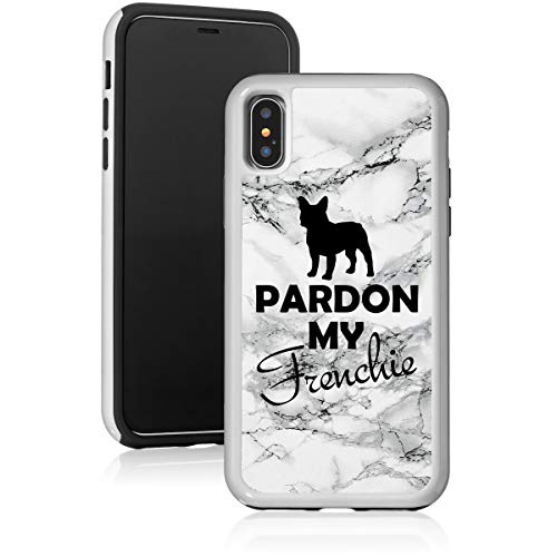 Marble Shockproof Impact Hard Soft Case Cover for Apple iPhone Pardon My Frenchie French Bulldog (Black, for Apple iPhone SE/iPhone 5 / iPhone 5s)