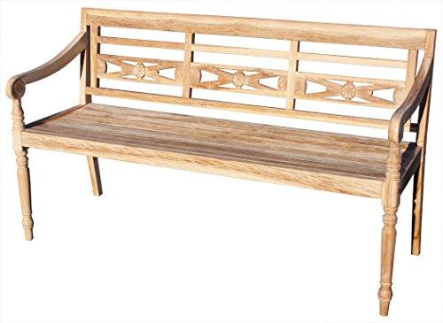 KMH®, Teak 3-sitzer Gartenbank Harry (145 cm) im Shabby Chic Stil - whitewashed (#102143)