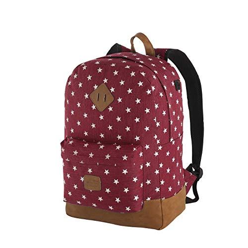 Rada Rucksack Schulrucksack mit Sternen Unisex Daypack für Jugendliche Mädchen (40 x 45 x 12,5 cm) (Burgundy)