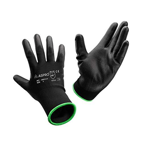 ASPRO Arbeitshandschuhe 10 Paar Größe 9 (L)- Gartenhandschuhe-Schwarze Nylon-Handschuhe mit PU-Beschichtung für Bauarbeiter, Gärtner, Mechaniker, Bauarbeiter, Lagerarbeiter etc.